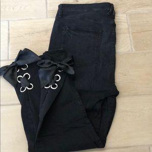 Black Denim Jeans with Satin Ties